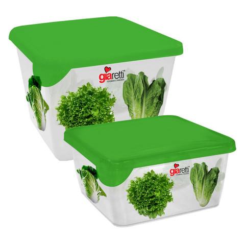 Набор контейнеров для продуктов Plastic Republic Браво пластиковые квадратные 2 штуки (артикул производителя GR1071СЛТ-ЧМ)