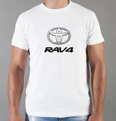 Футболка с принтом Тойота Рав 4 (Toyota RAV4) белая 0029