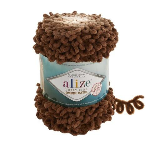 Пряжа Alize Puffy Fine Ombre Batik цвет 7262