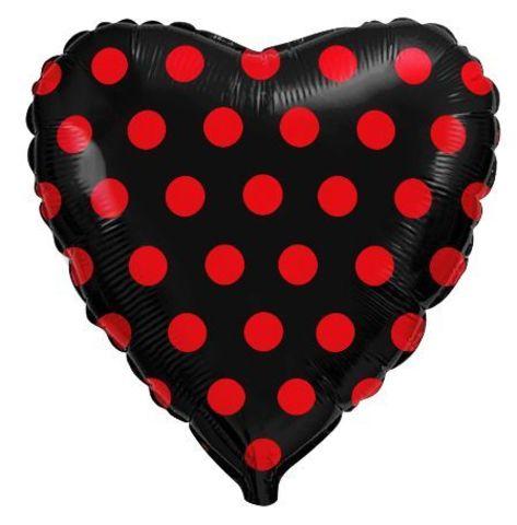 Сердце черное в красную точку