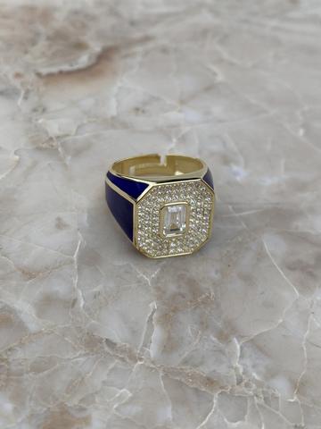 Кольцо Печатка синее, позолота