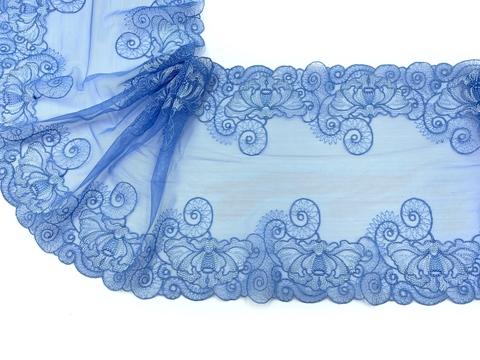 Вышивка на сетке эластичная голубая 23 см
