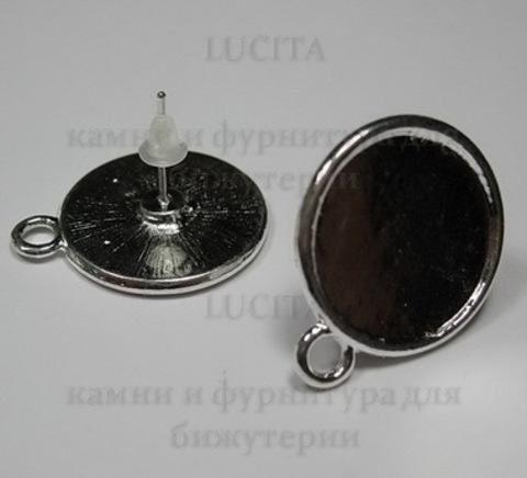 Пуссеты - гвоздики с сеттингом для кабошона 16 мм (цвет - серебро)(с заглушками) ()