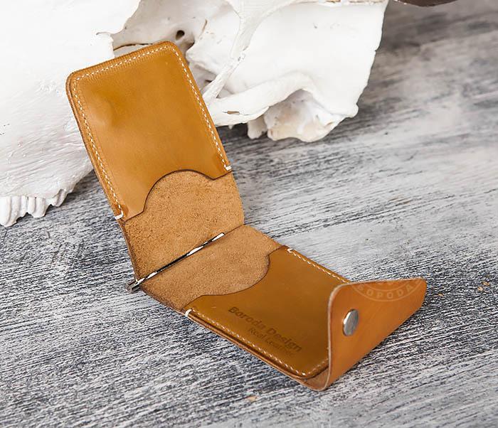 WB165-2 Тонкий кожаный зажим для купюр ручной работы фото 04