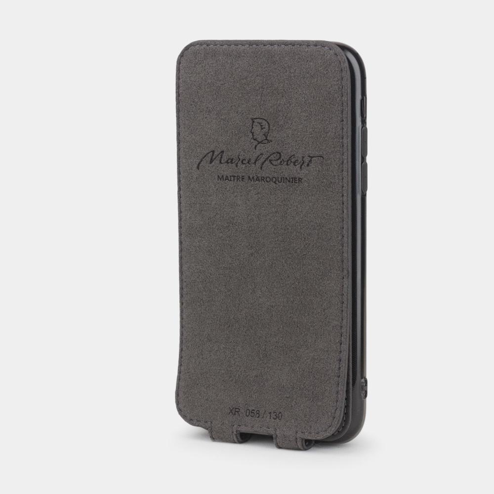 Чехол для iPhone XR из натуральной кожи теленка, серого цвета