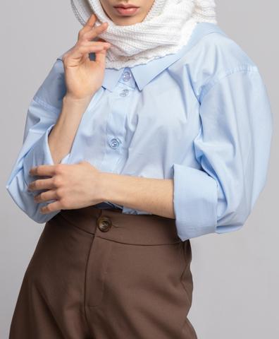 Рубашка из хлопка цвета голубой хрусталь