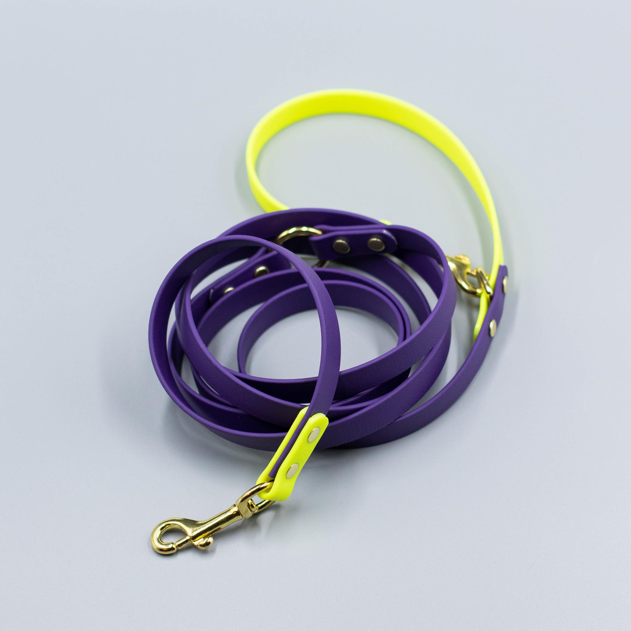 Поводок из стандартного биотана. Фиолетовый & Неоновый желтый