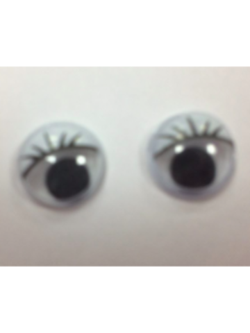 Глазки бегающие клеевые с ресницами белые 10 мм (2 шт)