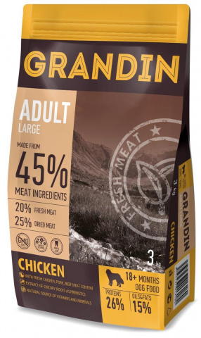 3 кг. Grandin Adult Large корм для взрослых собак крупных пород, с курицей