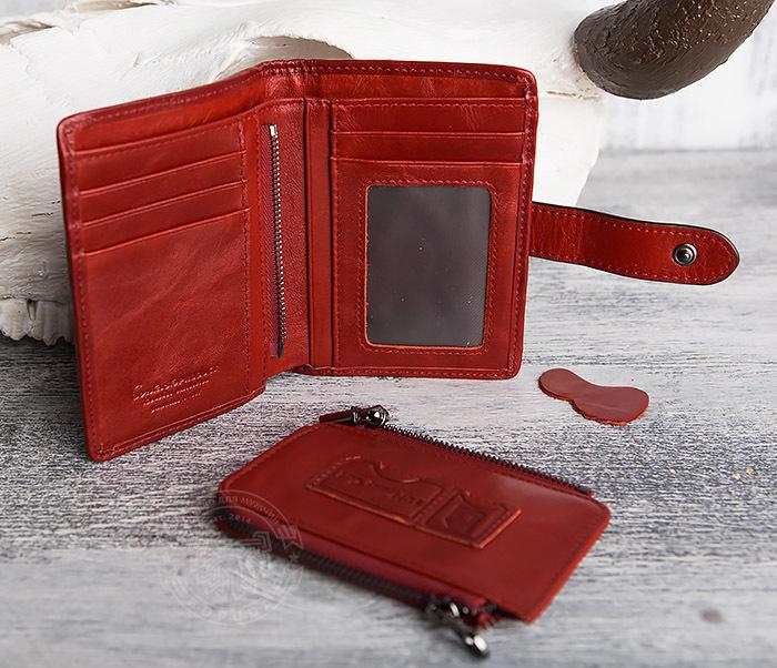 WL287-3 Красный кошелек из натуральной кожи на застежке фото 08