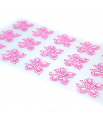 Стразы самоклеющиеся бабочки розовые 15 шт