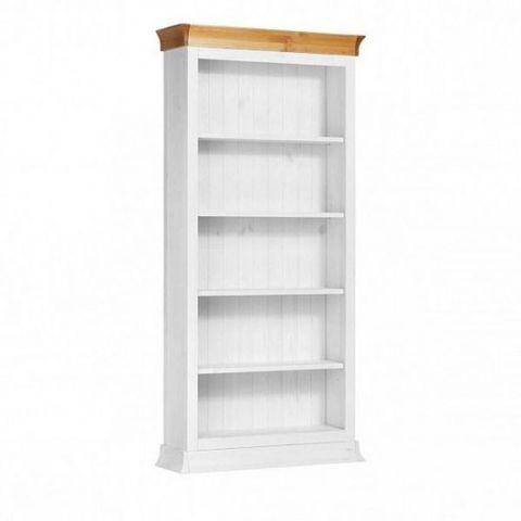 Шкаф для книг Бостон 1000x305 (белый воск/антик)