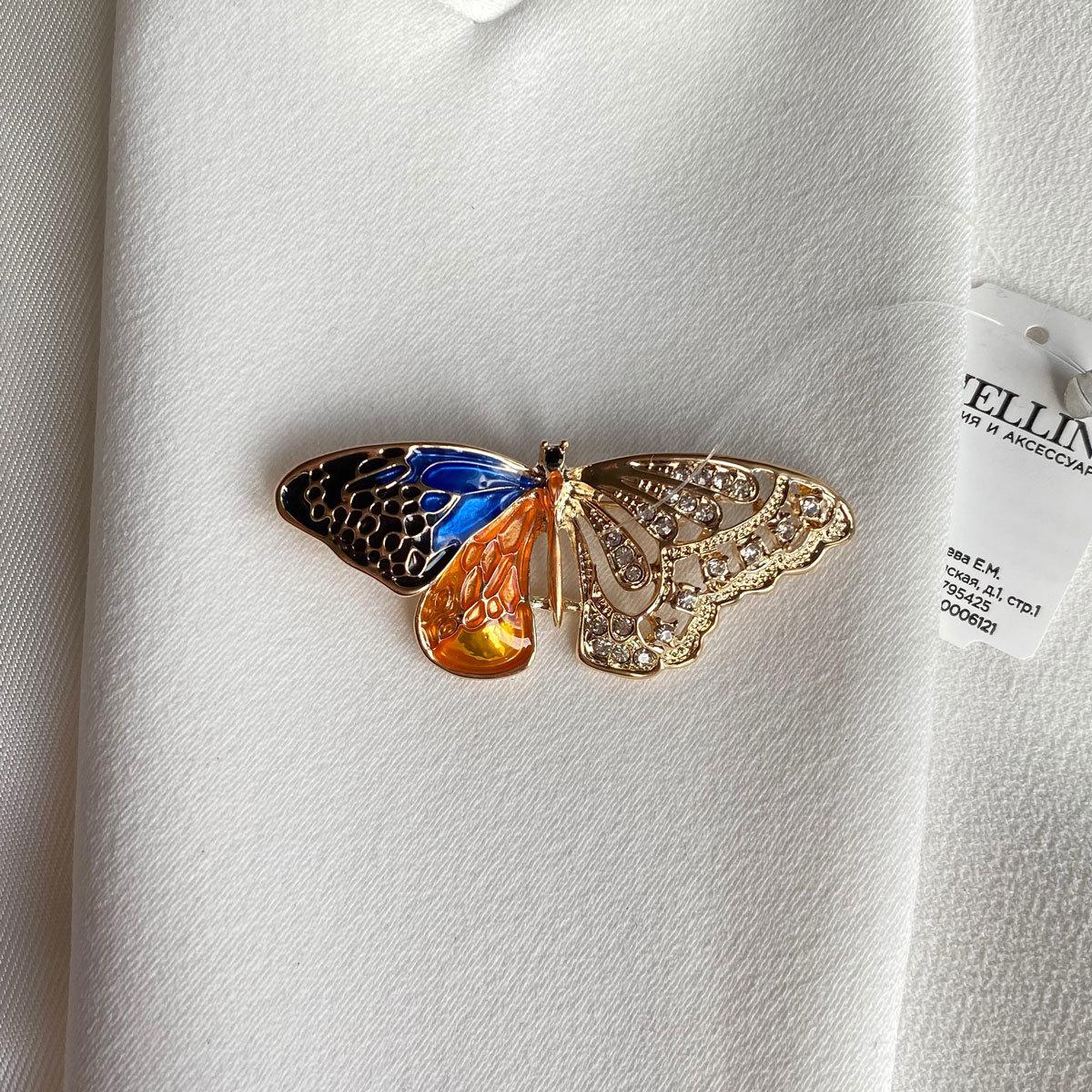 Брошь Бабочка полуэмаль оранжевый