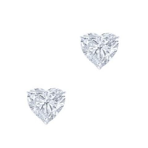 4837- Пусеты HEART из серебра с цирконом
