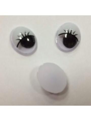 Глазки с ресницами-овальные,  8 x10 мм (2 шт)