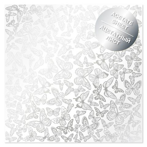 Ацетатный лист с фольгированием Silver Butterflies