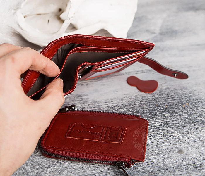 WL287-3 Красный кошелек из натуральной кожи на застежке фото 10