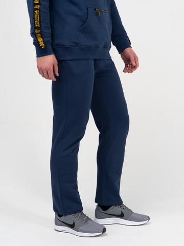 Спортивные штаны цвета синего денима без лампасов, без манжета