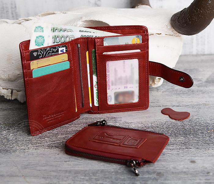 WL287-3 Красный кошелек из натуральной кожи на застежке фото 11