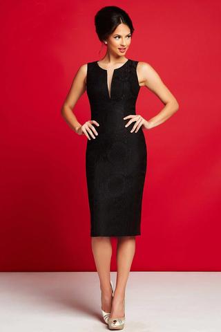 Mac Duggal 30255 Черное платье средней длинны, юбка футляр