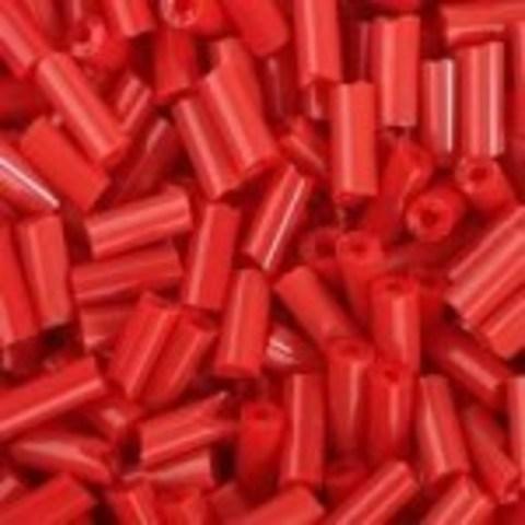Бисер стеклярус. Цвет: красный матовый 66, Размер 4.5 мм