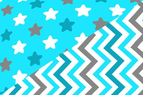 """Постельное белье """"Звёзды бирюзовый, графит, белый, фон голубой - зигзаги бирюзовый ,графит, голубой"""""""