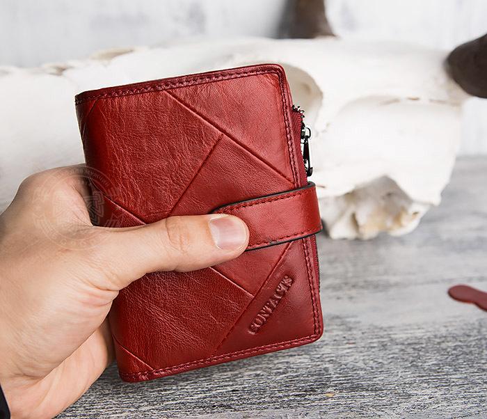 WL287-3 Красный кошелек из натуральной кожи на застежке фото 12