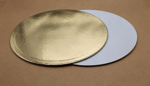 Подложка для торта 28см, толщ. 1.5мм, золотая/белая, круглая