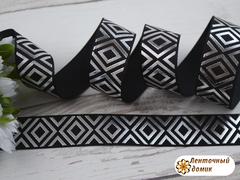 Лента репсовая Крупные серебряные ромбы на черном 22 мм