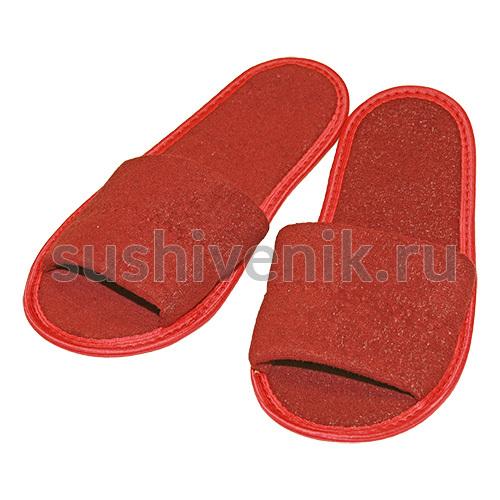 Тапочки для бани бордовые махровые
