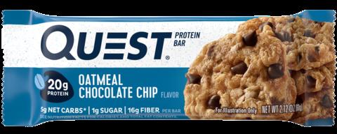 Протеиновые батончики Quest Bar Oatmeal Chocolate Chip (Овсяное печенье с шоколадом), 12 шт