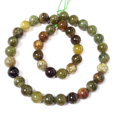 Бусины зеленый гранат (гроссуляр) шар гладкий 10 мм 19 бусин