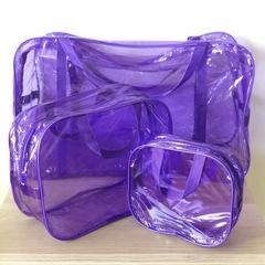 Тонированная прозрачная сумка в роддом с 2 косметичками, фиолетовая, вид 3