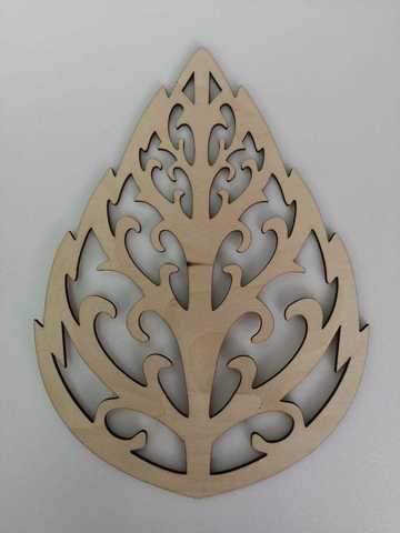 Трафарет для листьев резной, деревянный. Размер 3х110х150мм.
