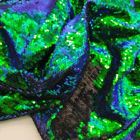 Ткань с пайетками двусторонняя, сине-зеленый/черный 130*50см.