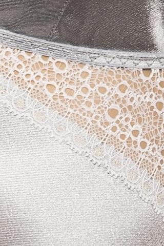 Серебристое платье с кружевными вставками и трусики HALLA XXL/XXXL 13597PAS