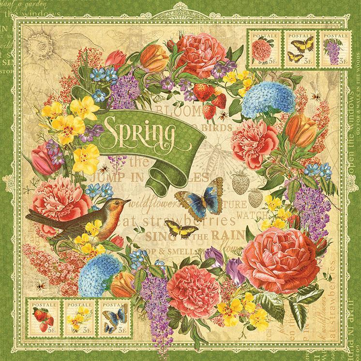 Бумага для скрапбукинга Spring, Graphic45