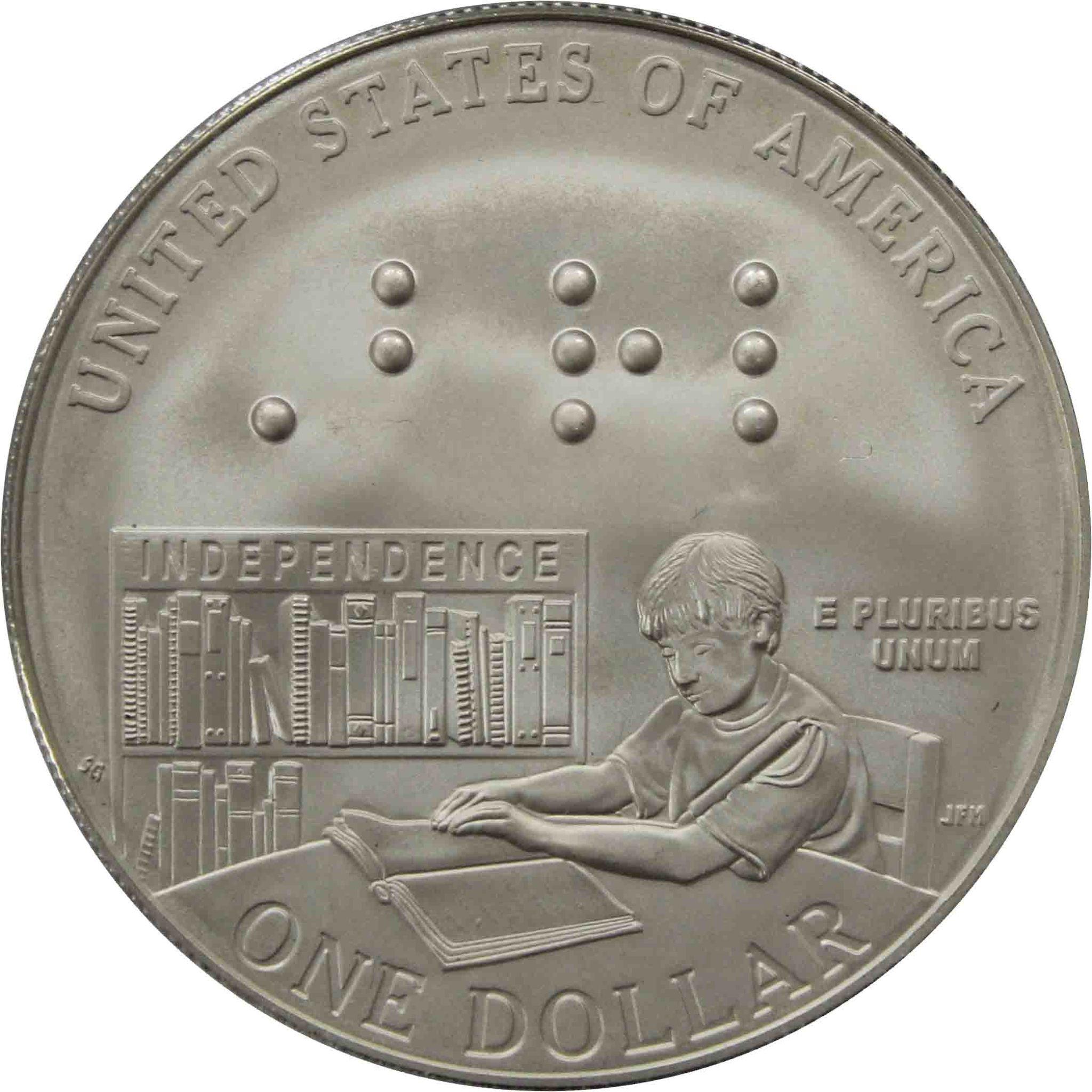 """1 доллар 2009 P """"200 лет Луи Брайлю"""""""