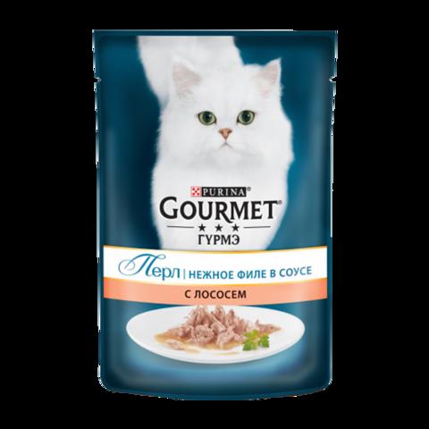 Gourmet Perle Консервы для кошек Нежное филе с Лососем в соусе (Пауч)