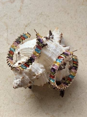 Серьги Фаира 3,5 см, разноцветные в позолоте