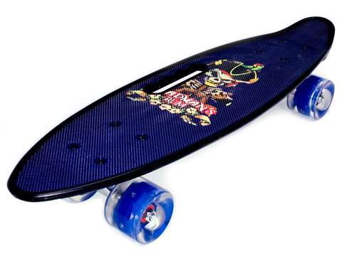 Скейтборд Граффити со светящимися колесами синий