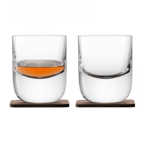 Набор из 2 стаканов Renfrew Whisky с деревянными подставками, 270 мл