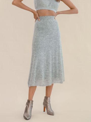 Женская юбка светло-серого цвета из мохера - фото 3