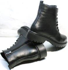 Обувь наподобие мартинсов. Черные ботинки на толстой подошве весна осень женские Misss Roy 252-01 Black Leather.