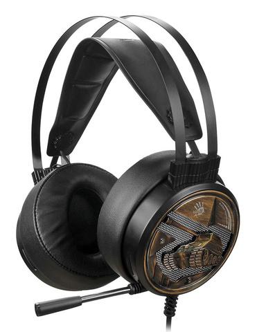 Наушники с микрофоном A4Tech Bloody G650S черный/бронзовый 2м мониторные USB оголовье (G650S)