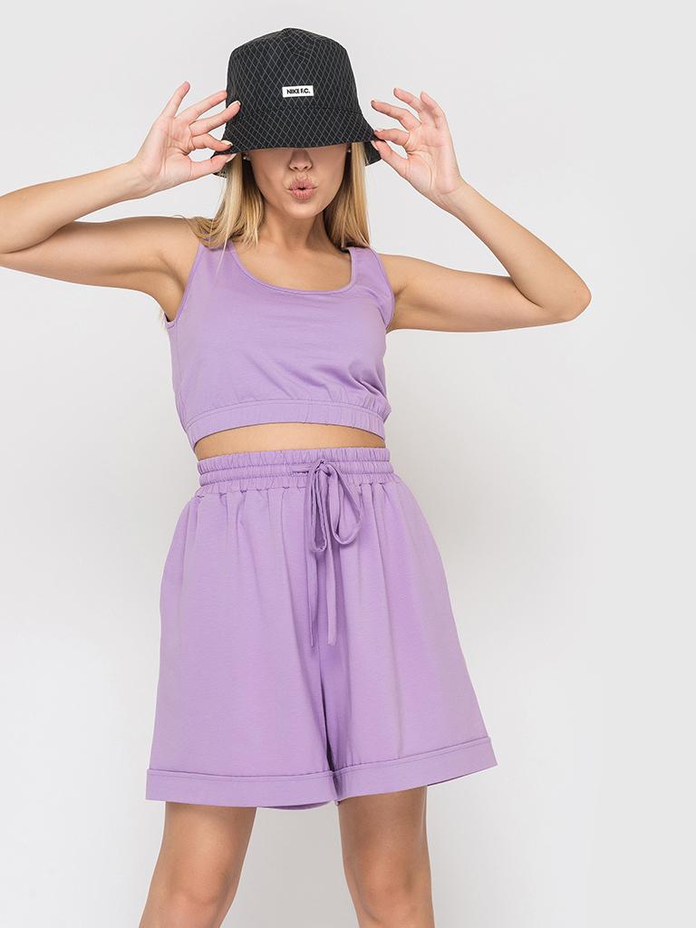 Костюм трикотажный (шорты и топ) лиловый YOS от украинского бренда Your Own Style
