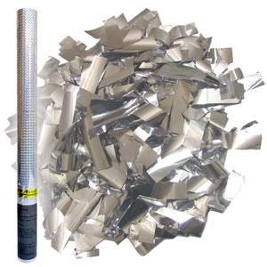 Пневмохлопушка в пластиковой тубе Серебряное конфетти 60см