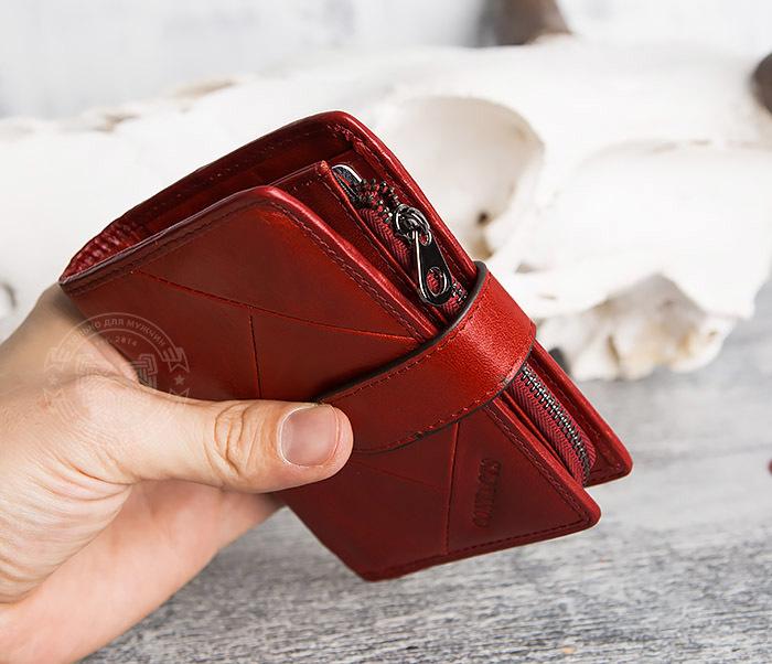 WL287-3 Красный кошелек из натуральной кожи на застежке фото 14