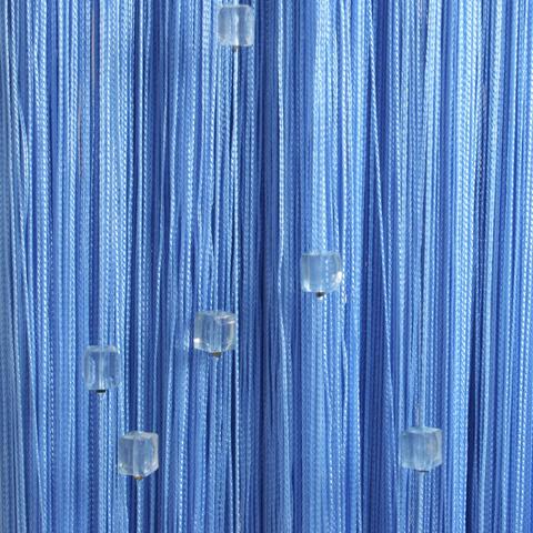 Кисея с бусинами (кубики) - Голубая. Ш-300см., В-280см. Арт.11