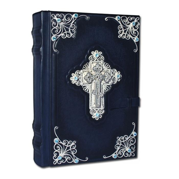 Библия с  филигранью серебро, топазами